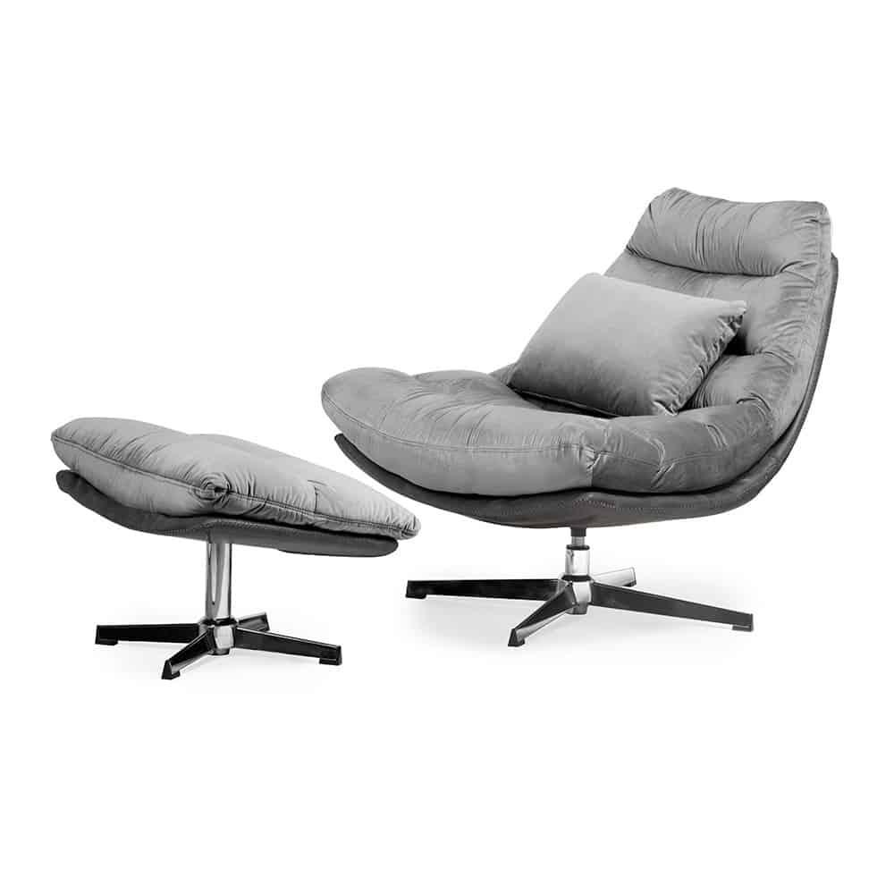 Luxe ligstoel Cesar - Grijs fluweel