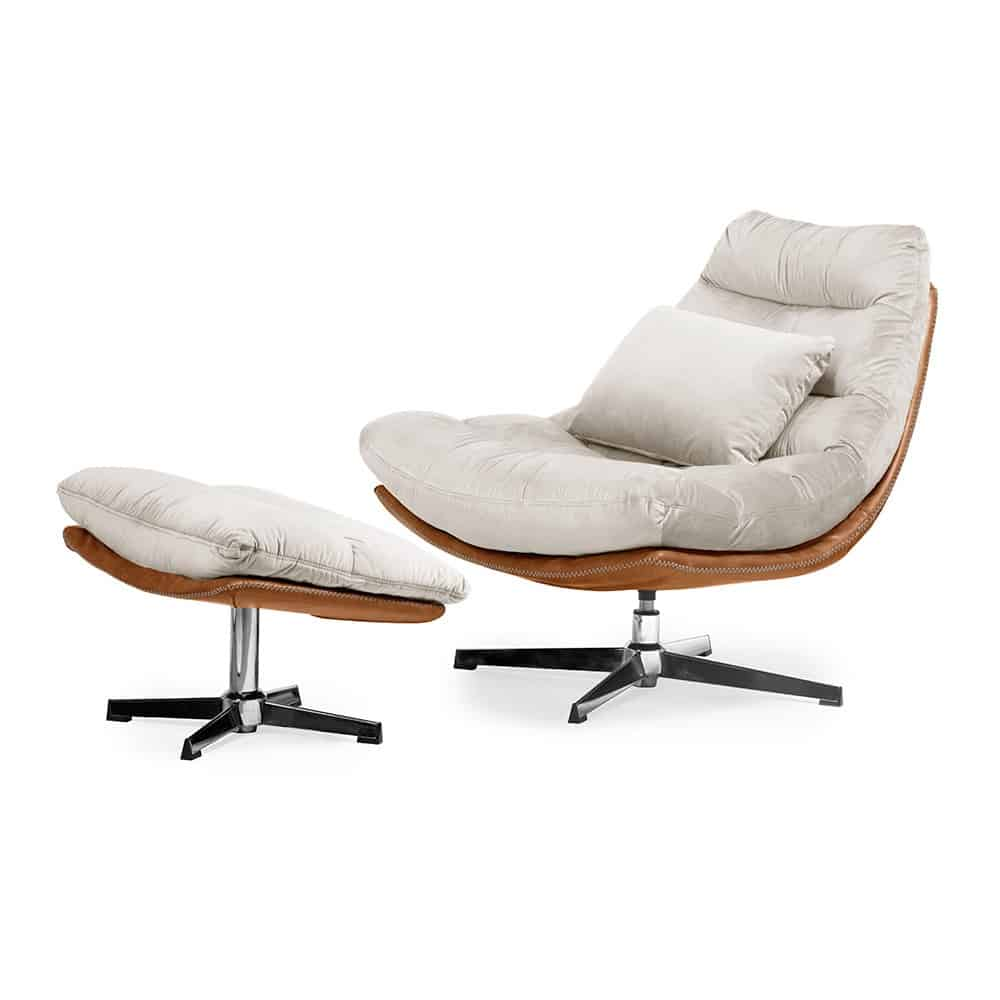 Luxe ligstoel Cesar - Beige fluweel