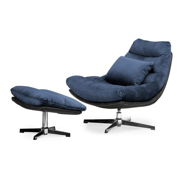 Luxe ligstoel Cesar - Blauw fluweel
